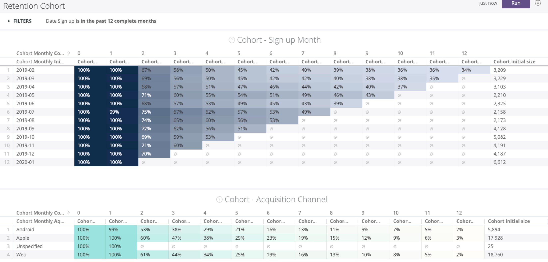 Retention cohorts - ChurnIQ features